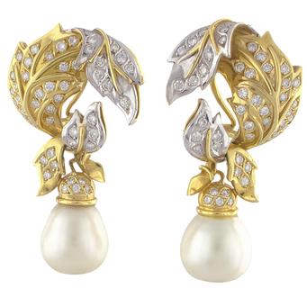 Pendientes de Oro Blanco y Amarillo, Perlas y Brillantes