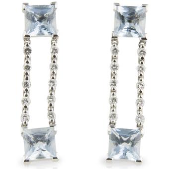 Pendientes de Oro Blanco, Aguamarinas y Diamantes