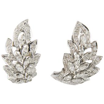 Pendientes Vintage de Oro Blanco y Diamantes