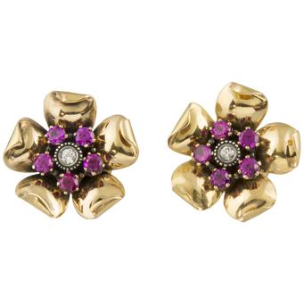 Pendientes Vintage de Oro, Brillantes y Piedras de Color