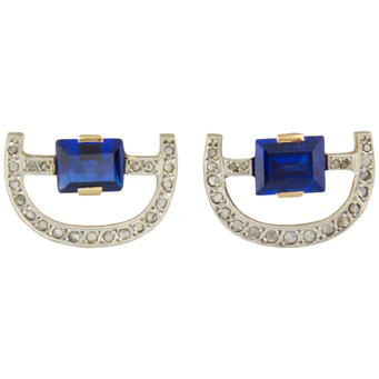 Pendientes Años 40 de Oro, Diamantes y Piedras de Color