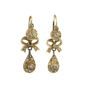 Pendientes Finales Siglo XIX de Oro y Diamantes