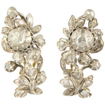 Pendientes Siglo XIX de Plata, Oro y Diamantes