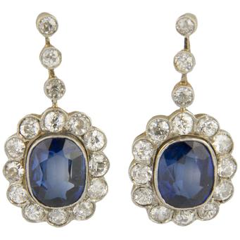 Pendientes de Oro, Platino, Piedras de Color y Diamantes