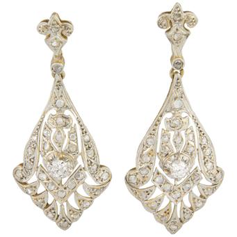 Pendientes Art Decó de Oro Blanco, Platino y Diamantes