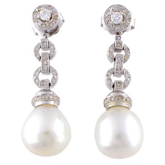 Pendientes Colgantes de Oro Blanco, Perlas y Brillantes