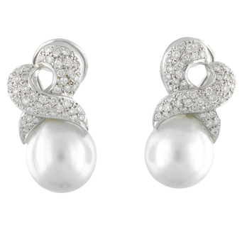 Pendientes de Oro Blanco, Perlas Australianas y Brillantes