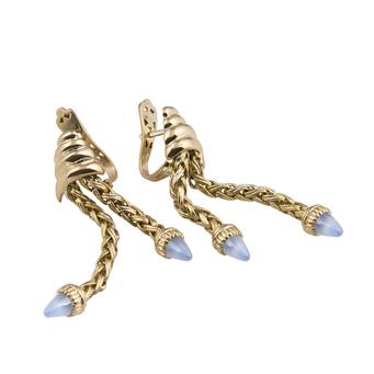 Pendientes Retro de Oro y Piedras Azules