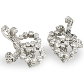 Pendientes Retro de Platino y Diamantes