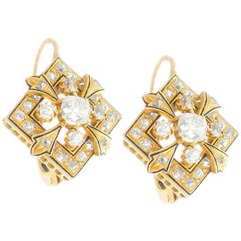 Pendientes Isabelinos de Oro, Esmaltes y Diamantes