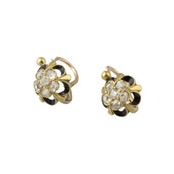 Pendientes Siglo XIX de Oro, Diamantes y Esmalte