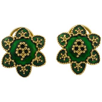 Pendientes Vintage Yanes de Oro y Esmaltes Verdes