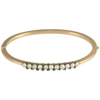 Pulsera Antigua de Oro, Perlas y Diamantes