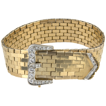 Pulsera Retro de Oro y Diamantes