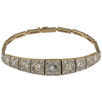 Pulsera de Compromiso Art Decó de Oro, Platino y Diamantes