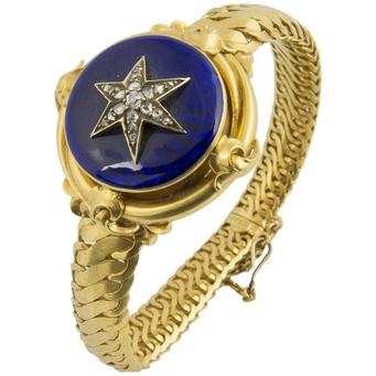 Pulsera Siglo XIX de Oro, Esmalte y Diamantes