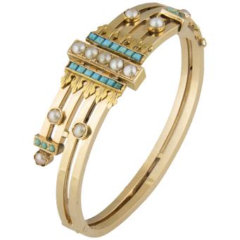Pulsera Principios Siglo XX de Oro, Turquesas y Perlas