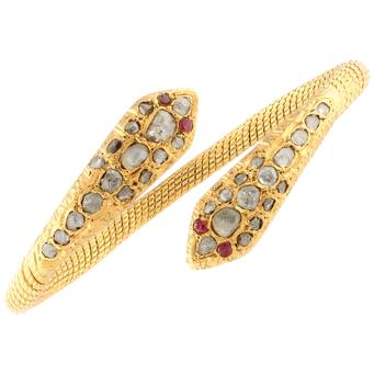 Pulsera Serpiente de Oro, Rubíes y Diamantes