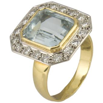 Sortija de Oro, Aguamarina y Diamantes