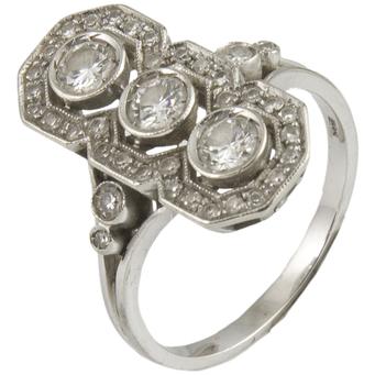 Sortija Lanzadera Art Decó de Oro Blanco y Diamantes