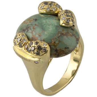 Sortija Italiana Paolo Bongia de Oro, Turquesa Africana y Diamantes