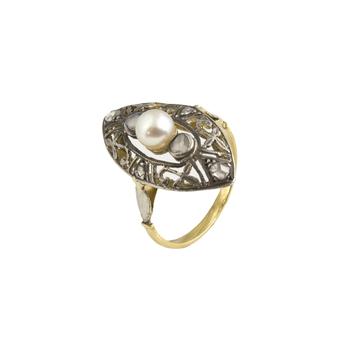 Sortija Lanzadera Finales Siglo XIX de Oro, Perla y Diamantes