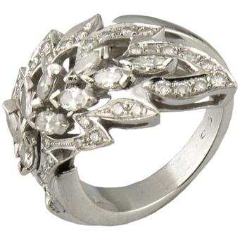 Sortija Vintage de Oro Blanco y Diamantes