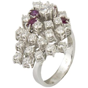 Anillo de Oro Blanco, Diamantes y Rubíes