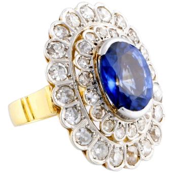 Sortija de Oro, Diamantes y Zafiro