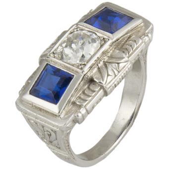 Sortija de Platino, Diamante y Piedras de Color