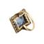 Anillo Años 20 de Oro, Platino, Piedra Azul y Diamantes