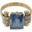 Anillo Vintage Años 40 de Oro, Piedra de Color y Brillantes