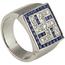 Anillo Años 30 de Oro Blanco, Diamantes y Piedras Azules