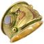 Anillo Neoclásico de Oro, Esmalte y Ágata