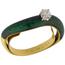 Anillo Vintage de Oro, Brillante y Esmaltes Verdes