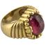 Anillo Vintage Años 70 de Oro y Turmalina Roja