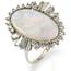 Anillo Vintage de Oro Blanco, Ópalo y Diamantes