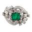 Anillo Vintage de Platino, Diamantes y Esmeralda