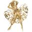 Broche Vintage de Oro, Perlas y Piedras de Color