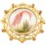 Broche Victoriano de Oro, Coral, Nácar y Plumas