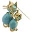 Broche Vintage de Oro, Turquesas y Rubíes