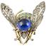 Broche Abejorro de Oro, Plata, Diamantes, Esmalte, Zafiros y Rubíes
