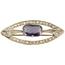 Broche Art Decó de Oro, Platino, Piedra de Color y Diamantes
