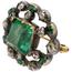 Broche Siglo XIX de Plata, Oro, Esmeraldas y Diamantes