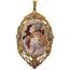 Colgante Novecentista Fusset y Grau de Oro, Platino, Diamantes, Marfil y Carey