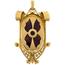 Colgante Fusset y Grau de Oro, Platino, Diamantes, Marfil y Carey