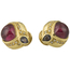 Pendientes Vintage de Oro, Turmalinas y Brillantes