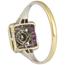 Sortija Art Decó de Oro Blanco, Diamante y Piedras de Color