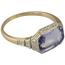 Sortija Art Decó de Oro, Platino, Espinela y Diamantes
