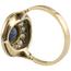 Anillo Art Decó de Oro, Platino, Diamantes y Piedra de Color